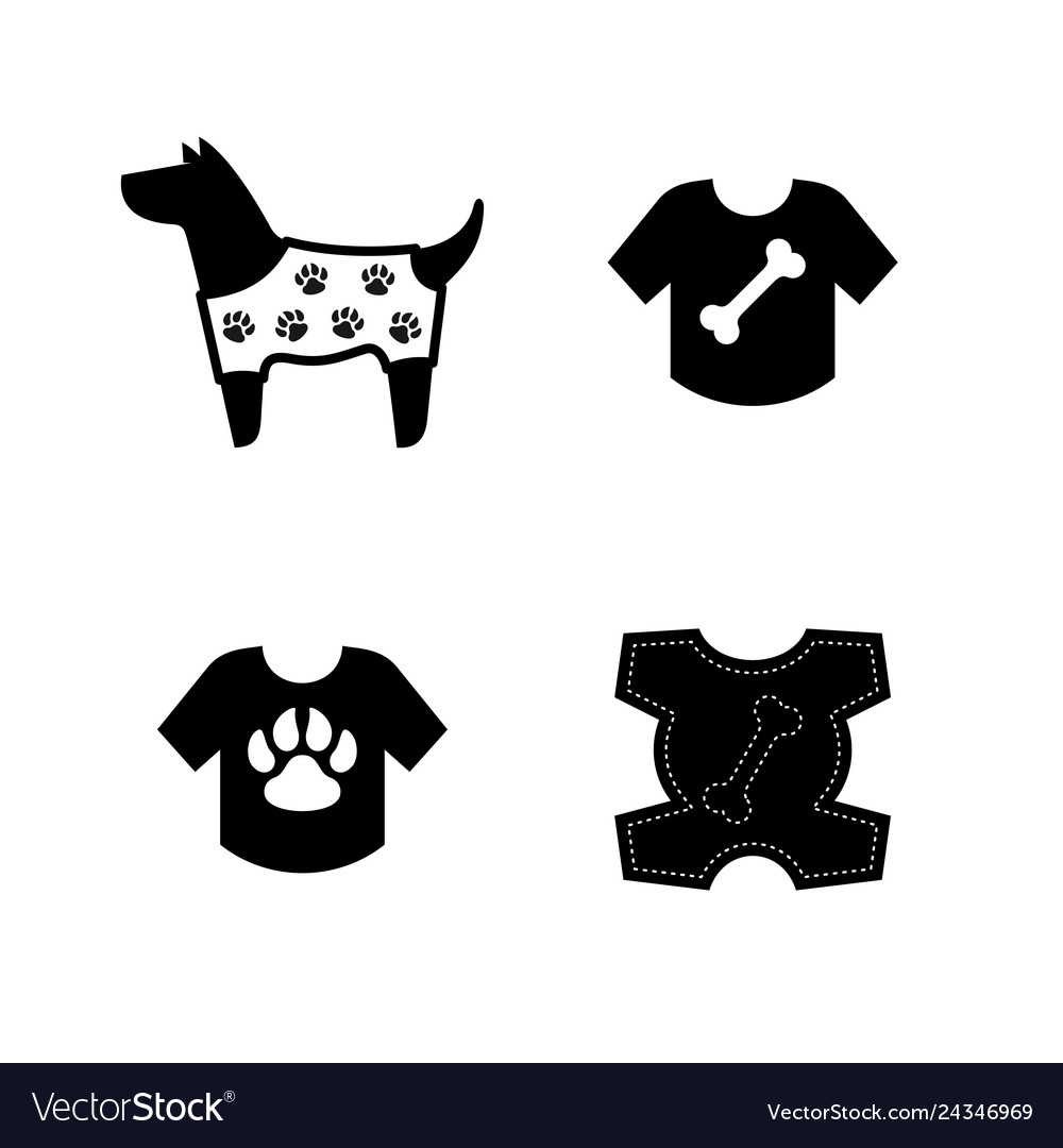 Dog clothes icons dog in a jacket with paws