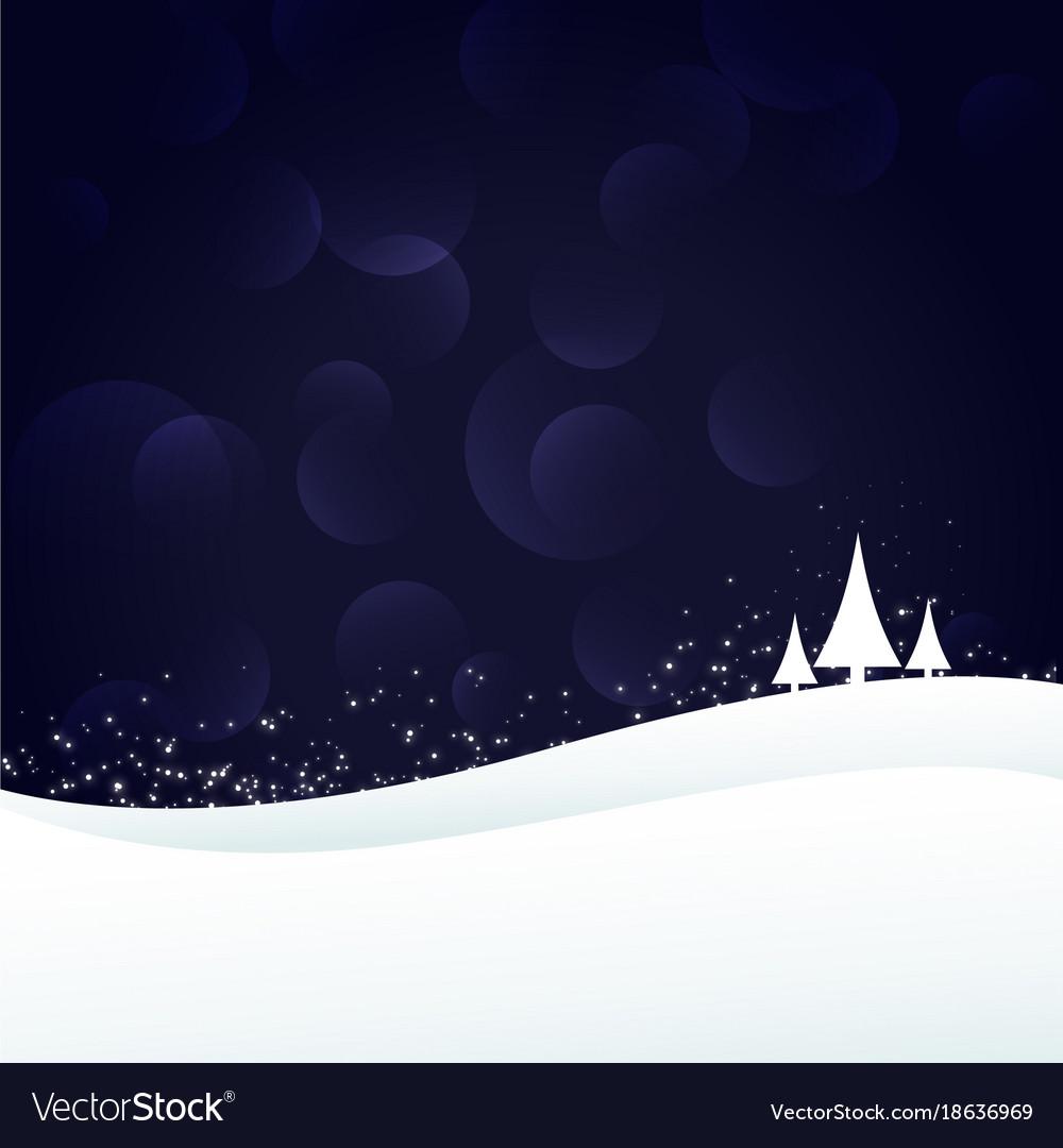Eleagnt winter landscape scene with three trees
