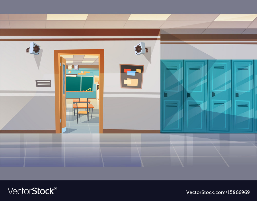 Empty school corridor with lockers hall open door vector image