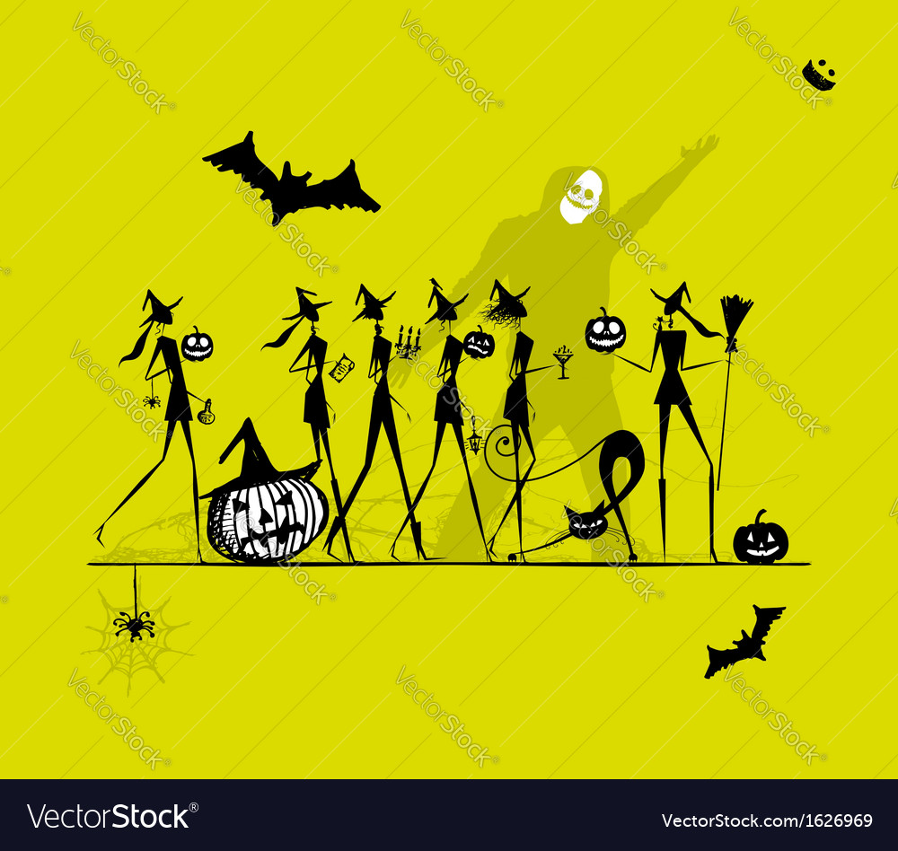 Halloween holiday young witches for your design