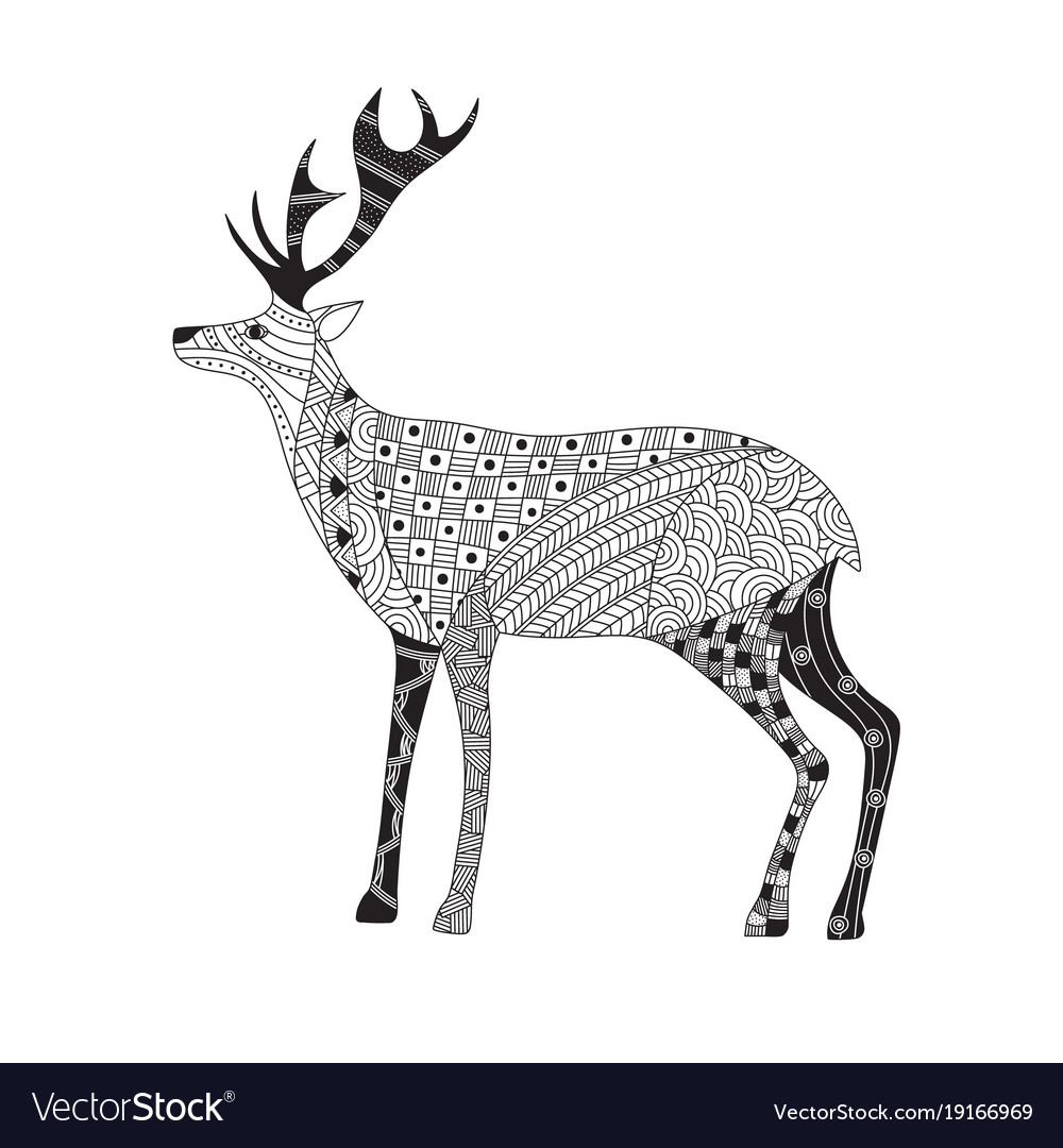 Hand drawn funny deer in zentangle style