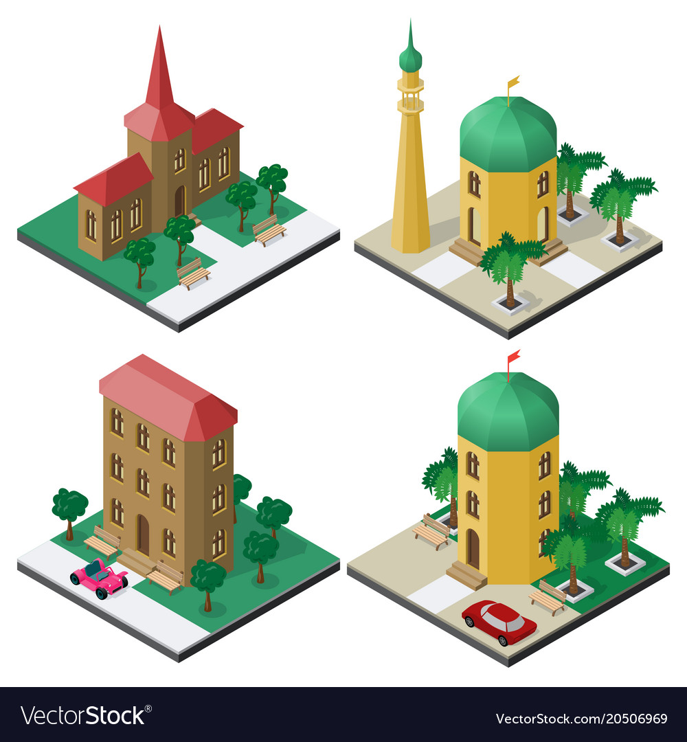 Isometric image set with public buildings