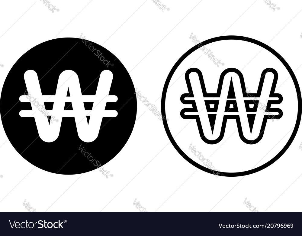 Korean Won Currency Symbol Icon Royalty Free Vector Image