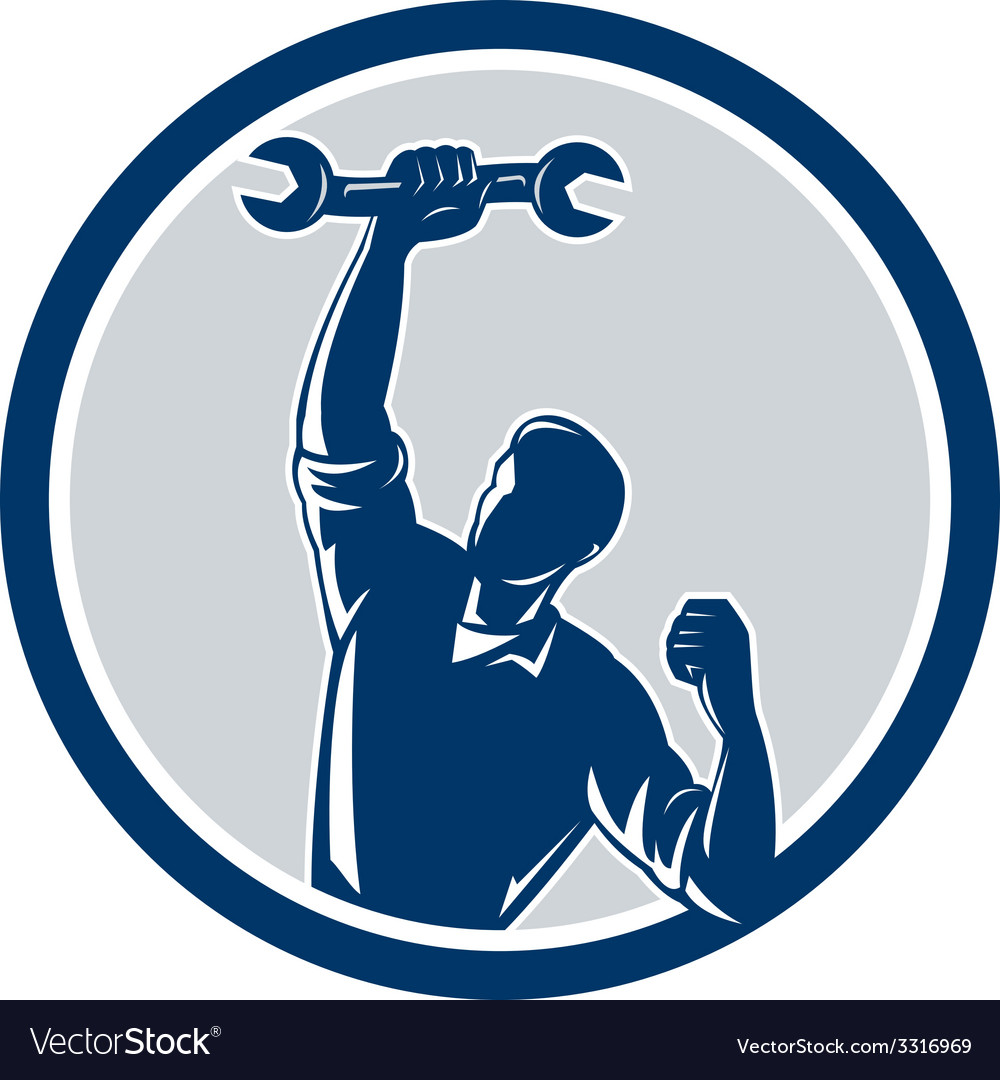 Mechanic Spanner Wrench Fist Pump Circle vector image