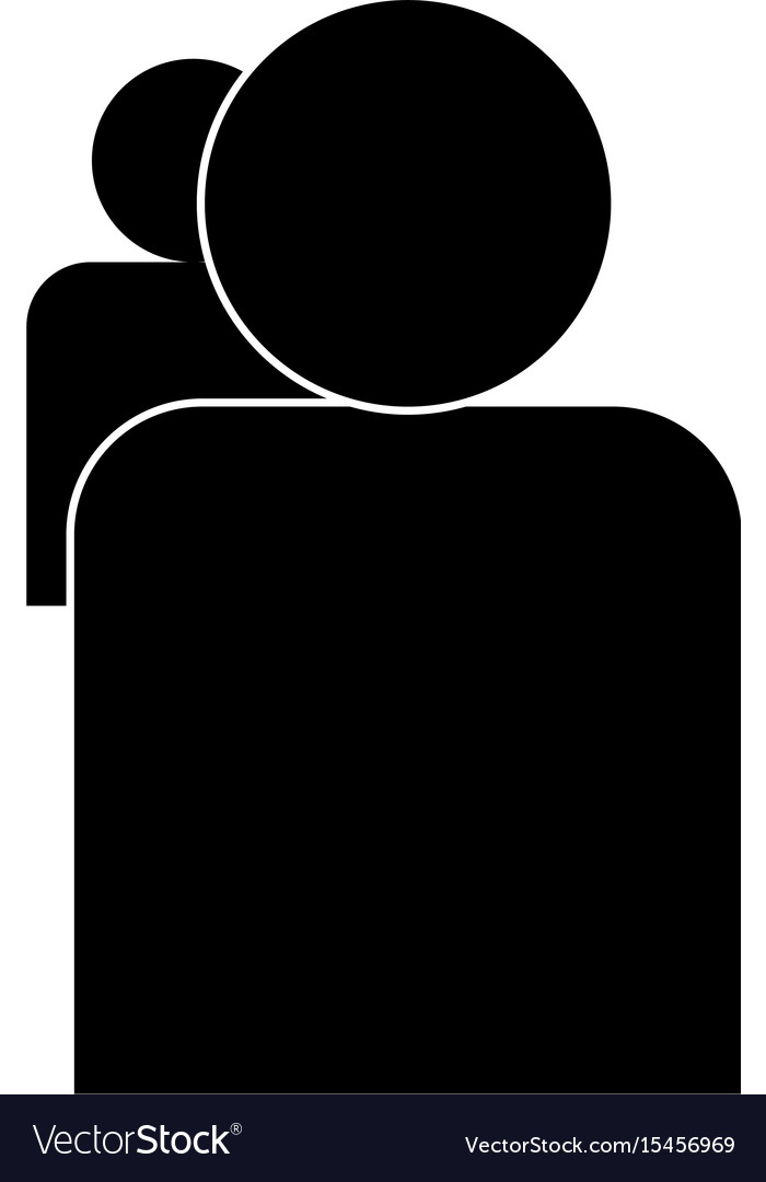 People or two avatar the black color icon vector image