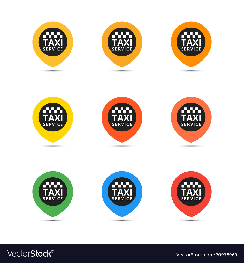 Taxi set icons coloful