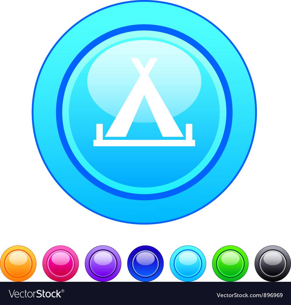Tent circle button vector image