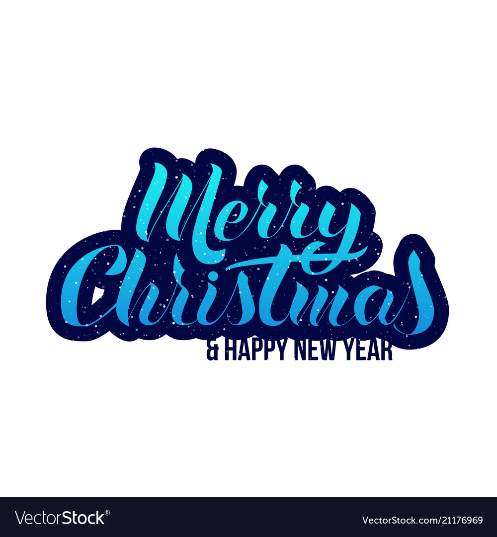 Thick lettering merry christmas happy new year