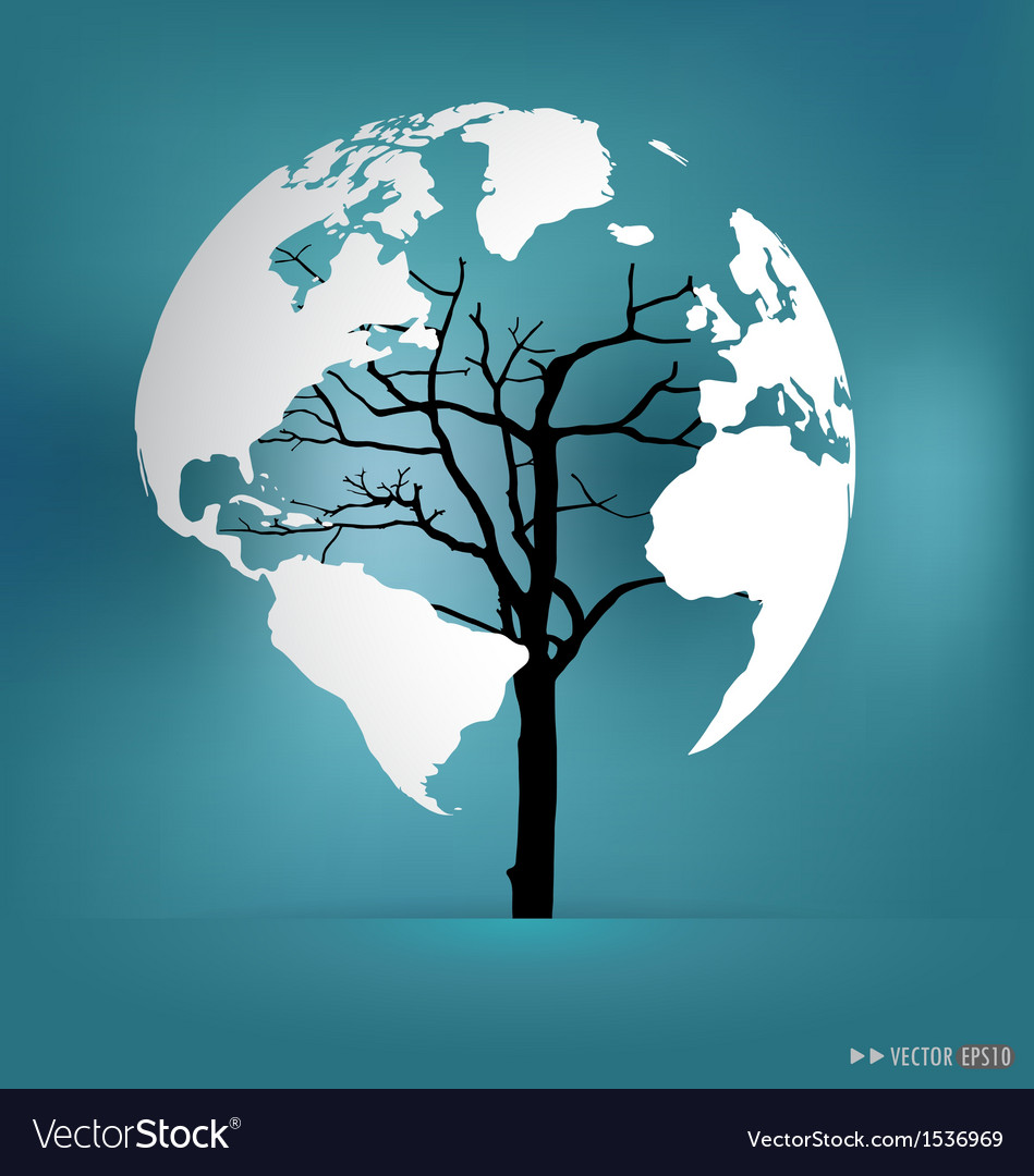 Tree shaped world map royalty free vector image tree shaped world map vector image gumiabroncs Image collections