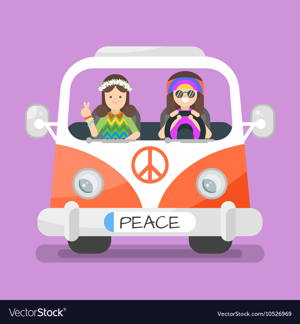 Two Happy Hippie Man And Woman Royalty Free Vector Image
