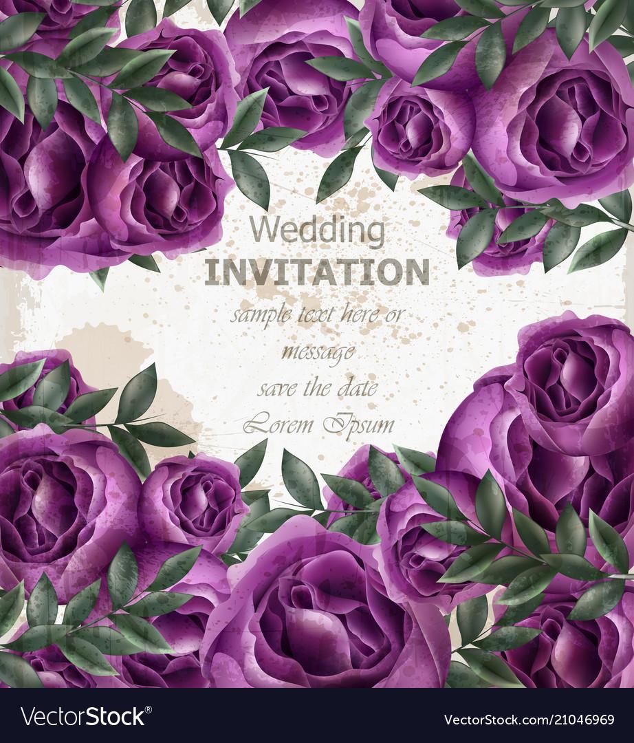Wedding invitation roses card beautiful
