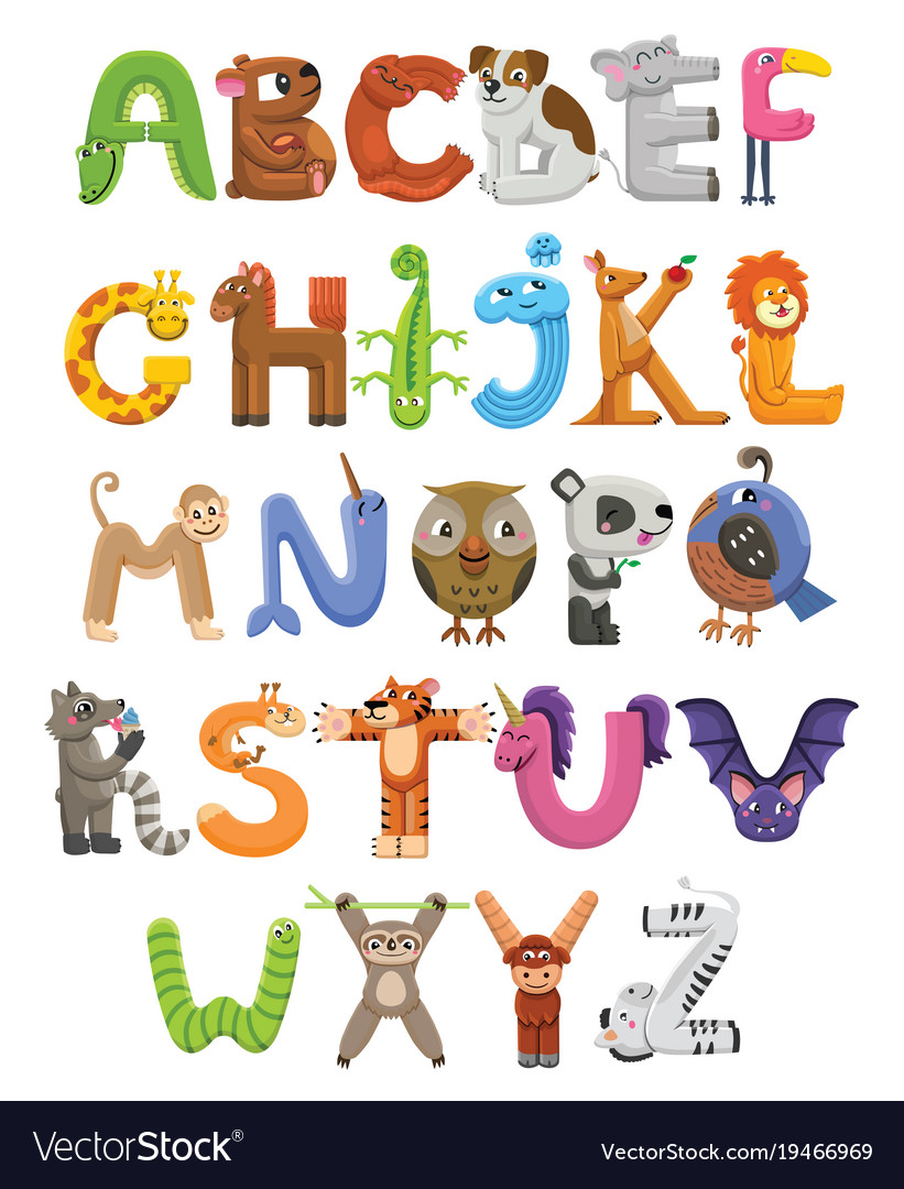 Toy Names A Z : Zoo alphabet animal letters from a to z vector image