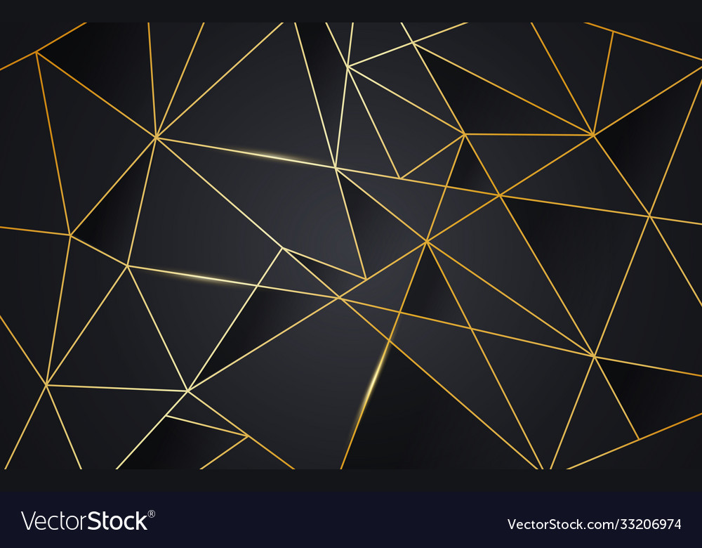 Black and gold abstract low poly background