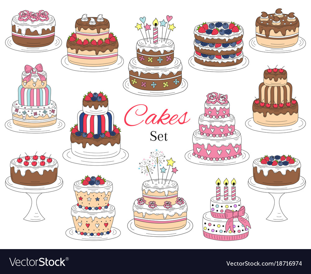 Cakes set hand drawn colorful doodle