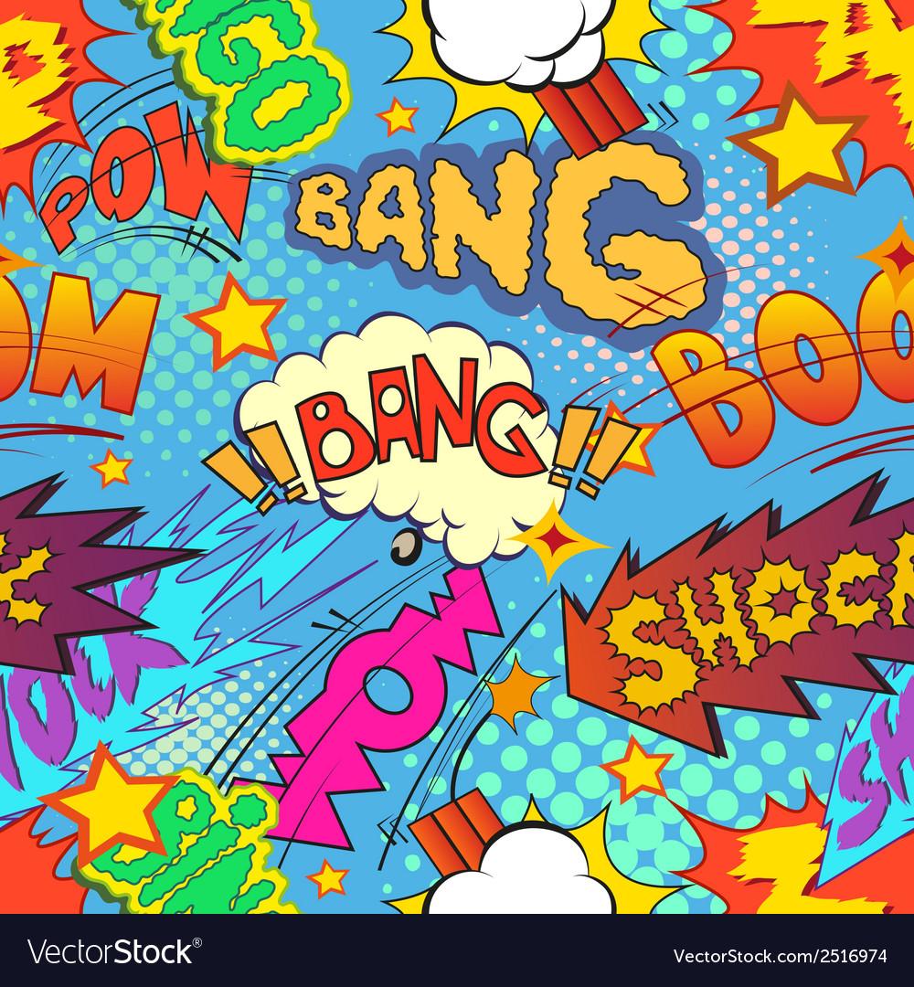 Comic book explosion seamless pattern