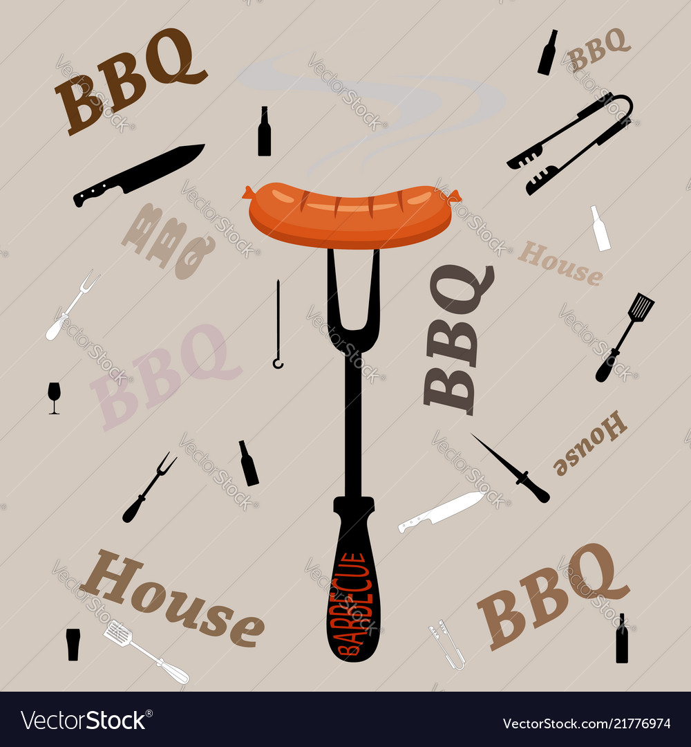 Fork with grill sausage isolated on grey