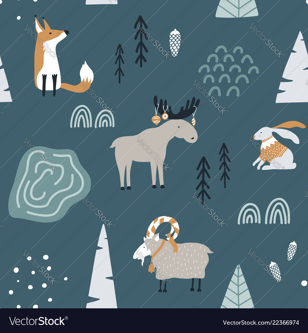 Hand drawn seamless pattern with fox goat elk