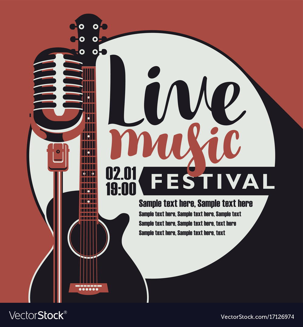 Live Music Poster With Guitar And Microphone Vector Image