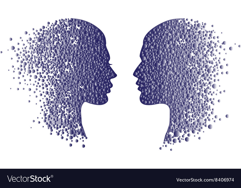 Man and woman head icons Psychology concept