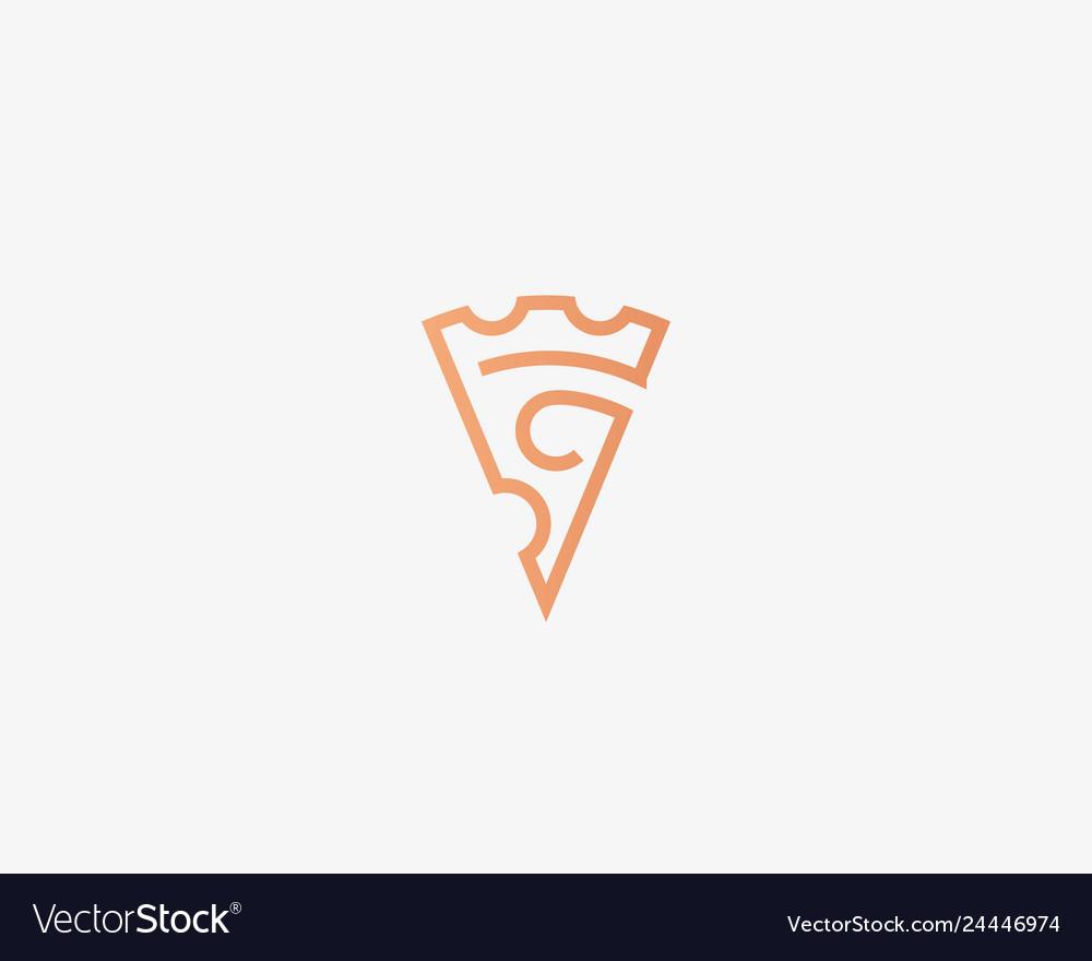 Pizza slice line logotype pizzeria crown