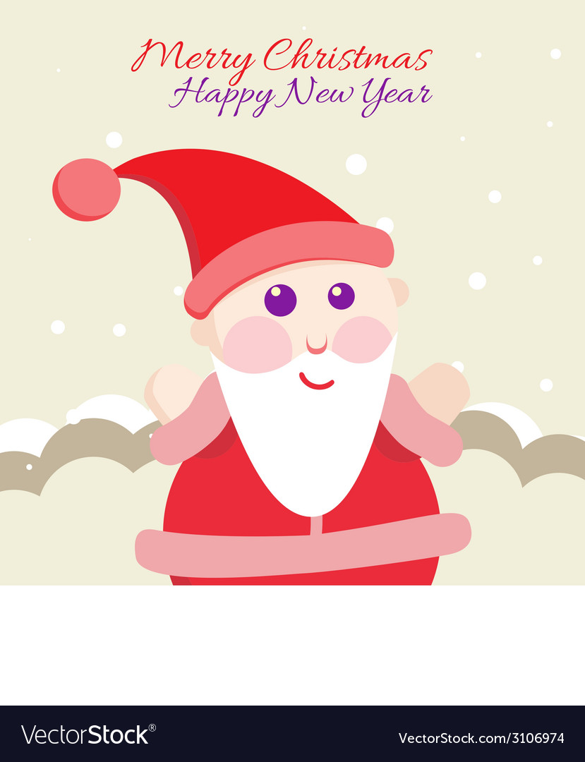 Santa claus with merry christmas label for holiday