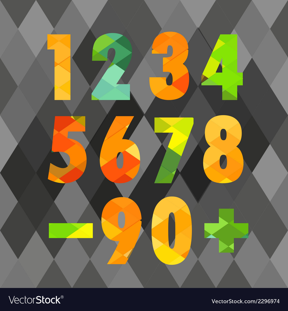 Set of numbers with geometric pattern