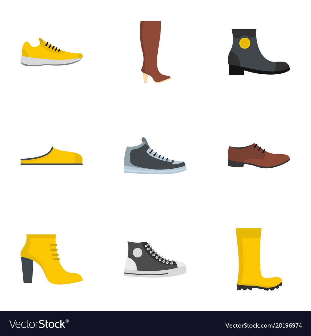 Slipper icons set flat style