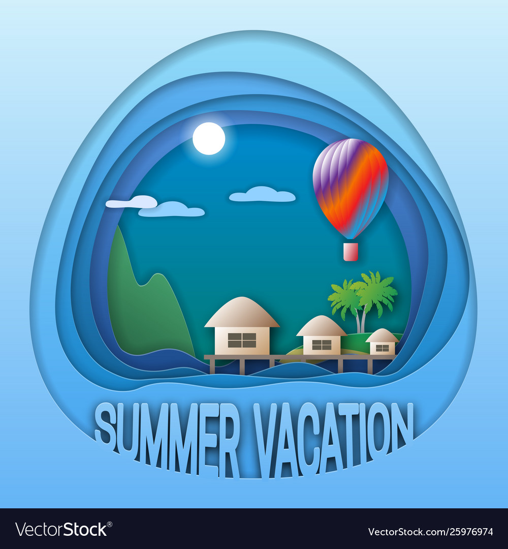 Summer vacation logo template sea resort with