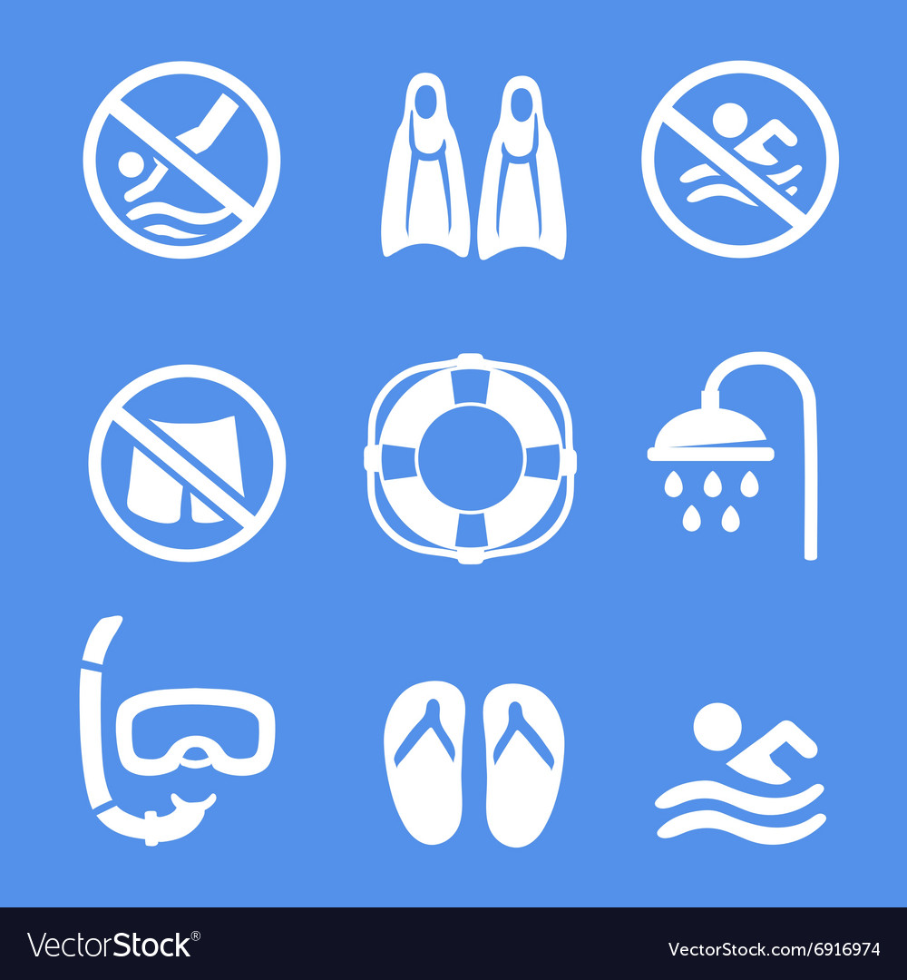 Swimming scuba diving sport icons set