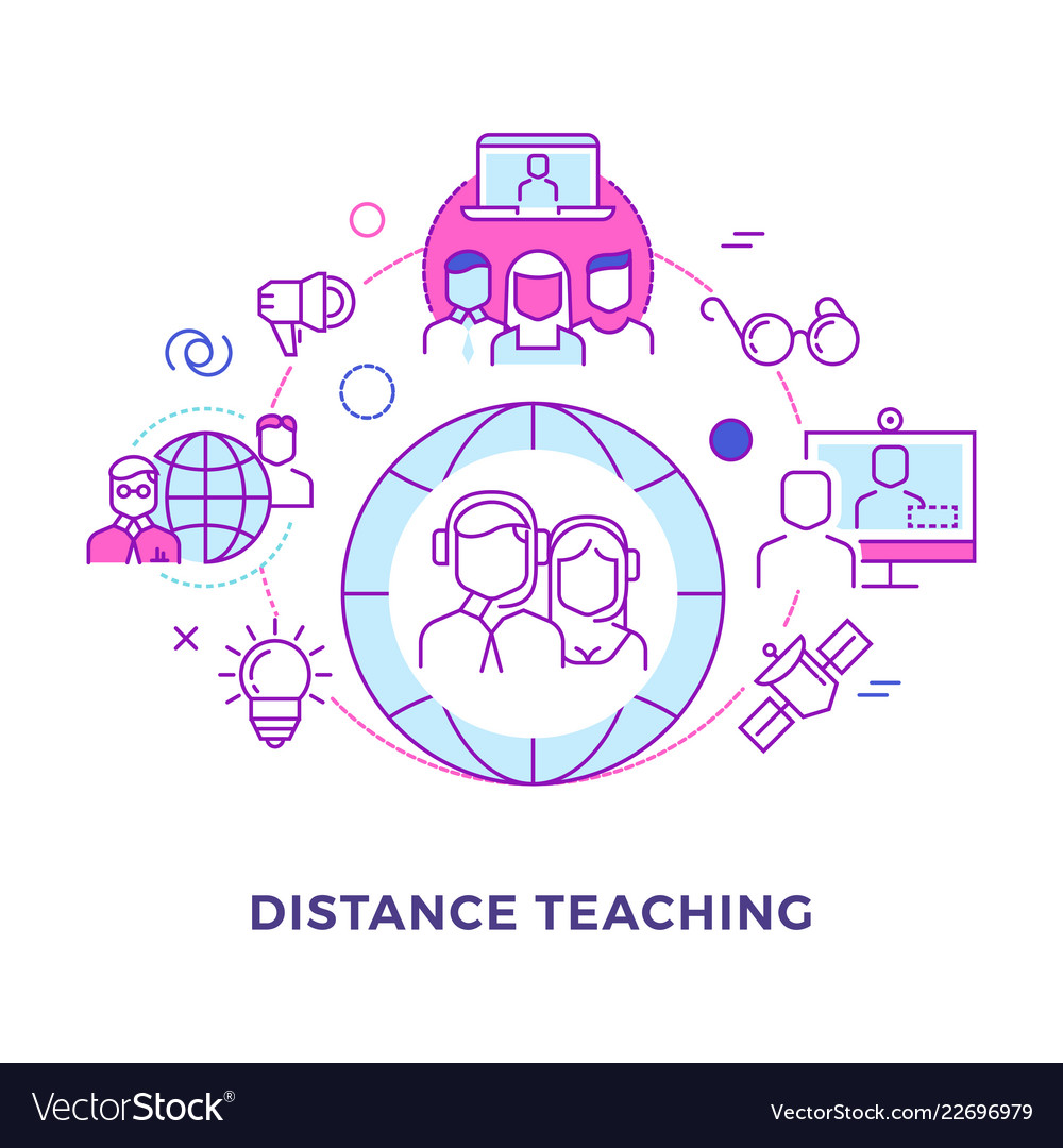 Distance teaching outline flat concept