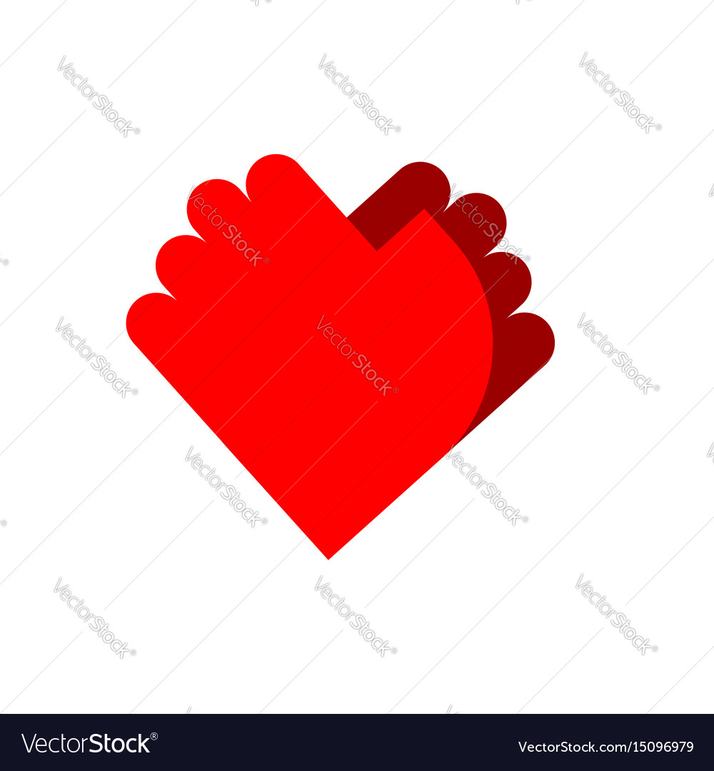 Friendship Logo Palm Emblem Two Hands Symbol Love Vector Image
