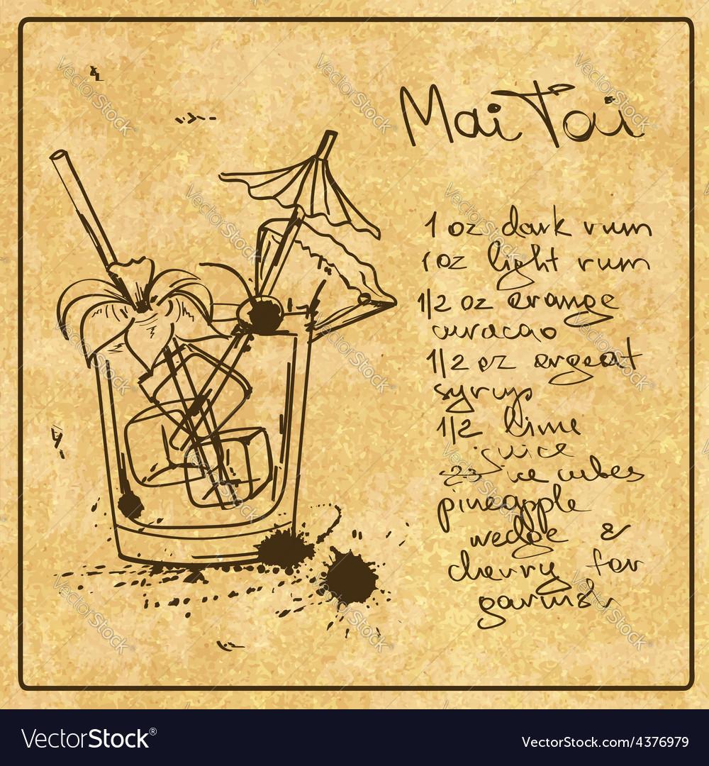 Hand drawn Mai Tai cocktail