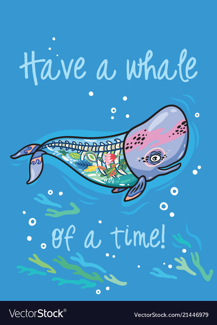 Have A Whale Of A Time Floral Anatomy Whale In Vector Image
