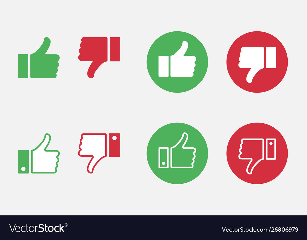 Like and dislike icon set thumbs up and thumbs