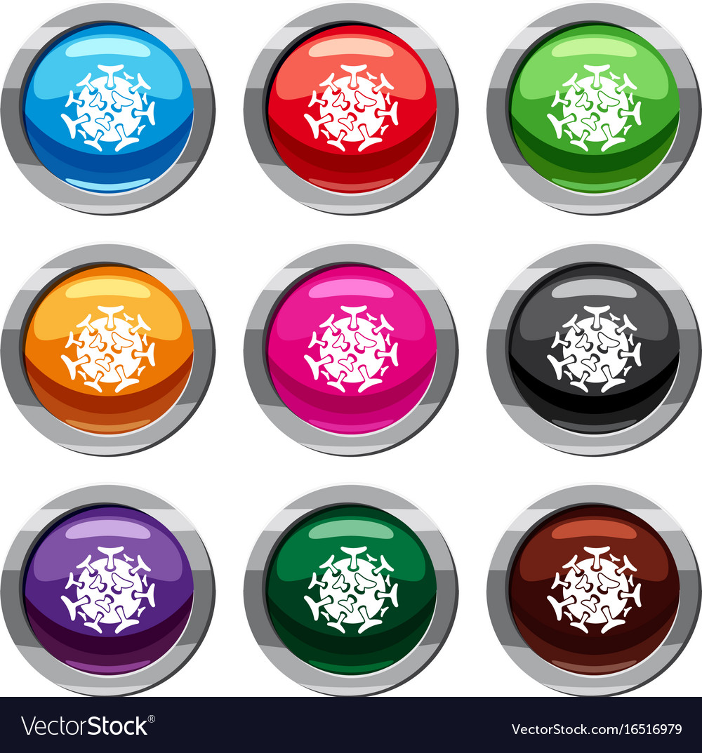 Round viral bacteria set 9 collection vector image