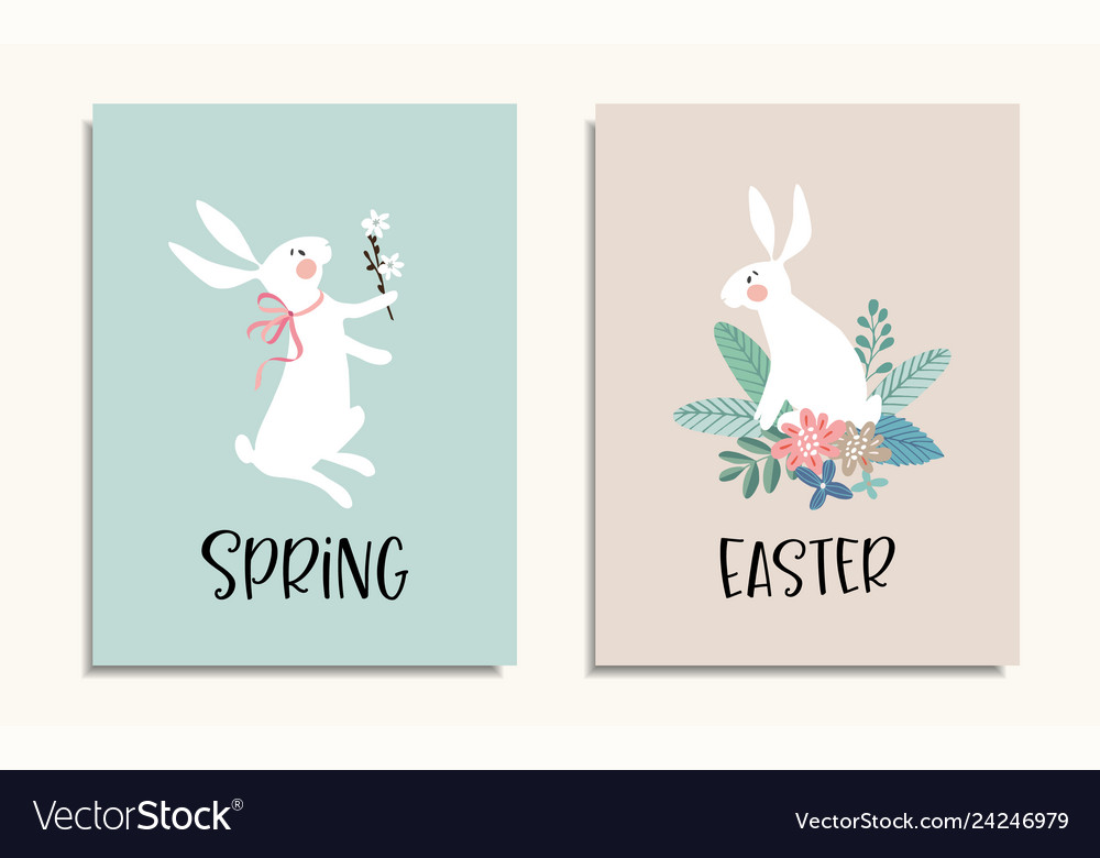 Set easter greeting cards invitations