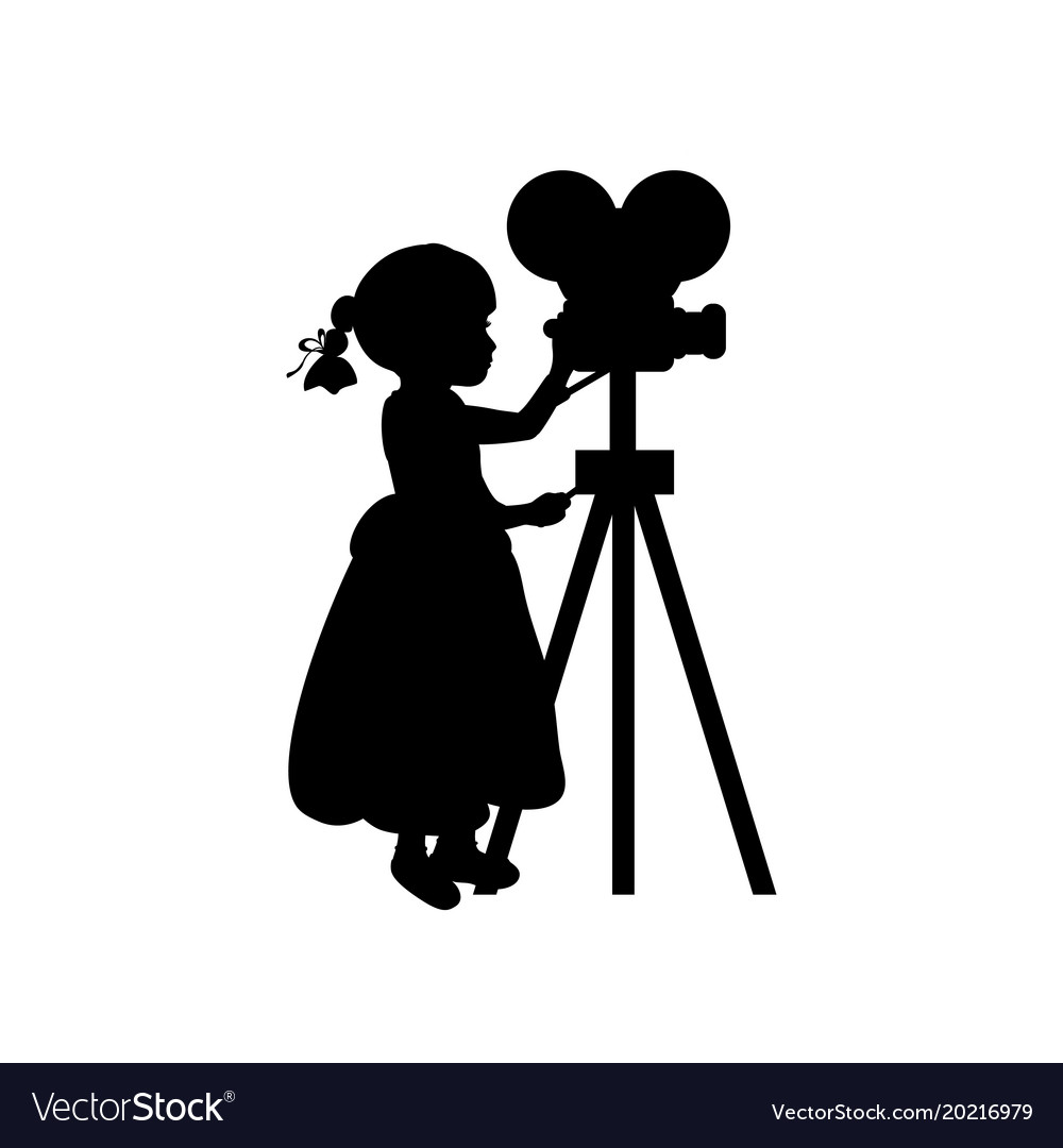 Silhouette girl makes movies film camera vector image
