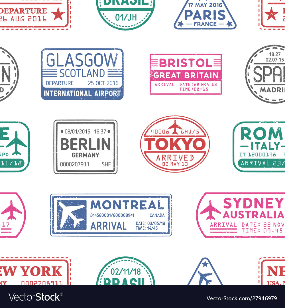 Visa stamps seamless pattern sydney vector