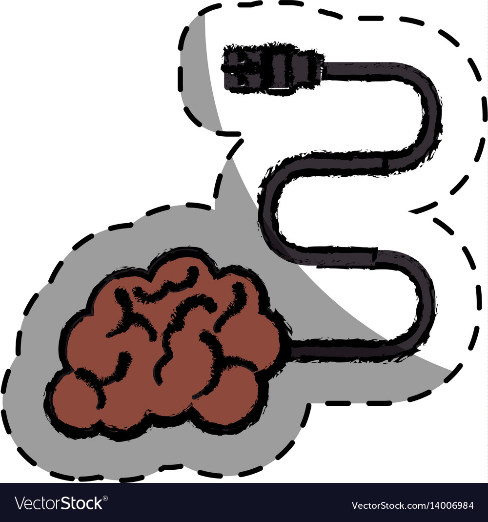 Brain human with cable creative icon vector image