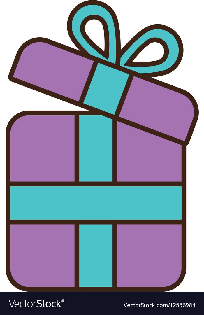 Cartoon purple gift box wrap ribbon