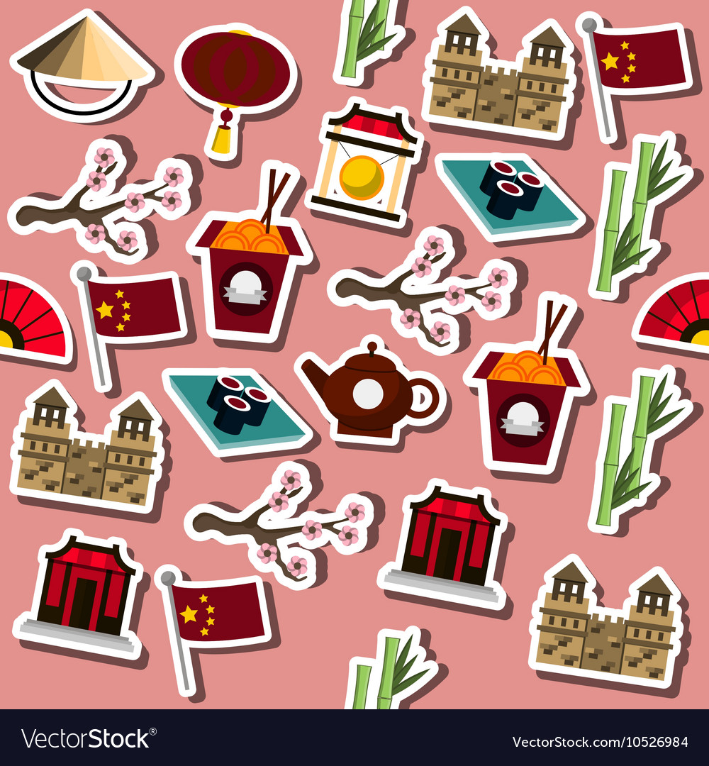 Colored China icons pattern