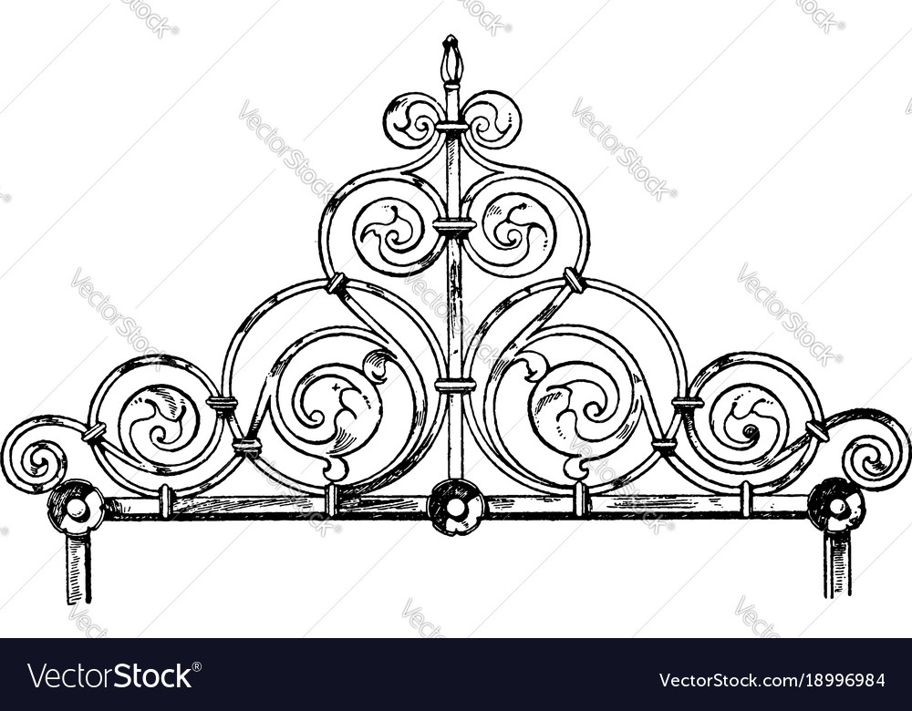 Coronal finial is made of wrought-iron tombs vector image