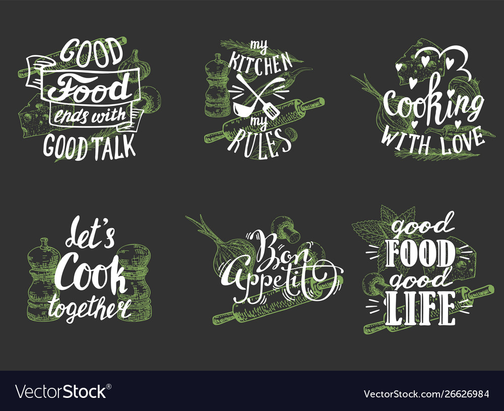 Cuisine quotes hand lettering typography