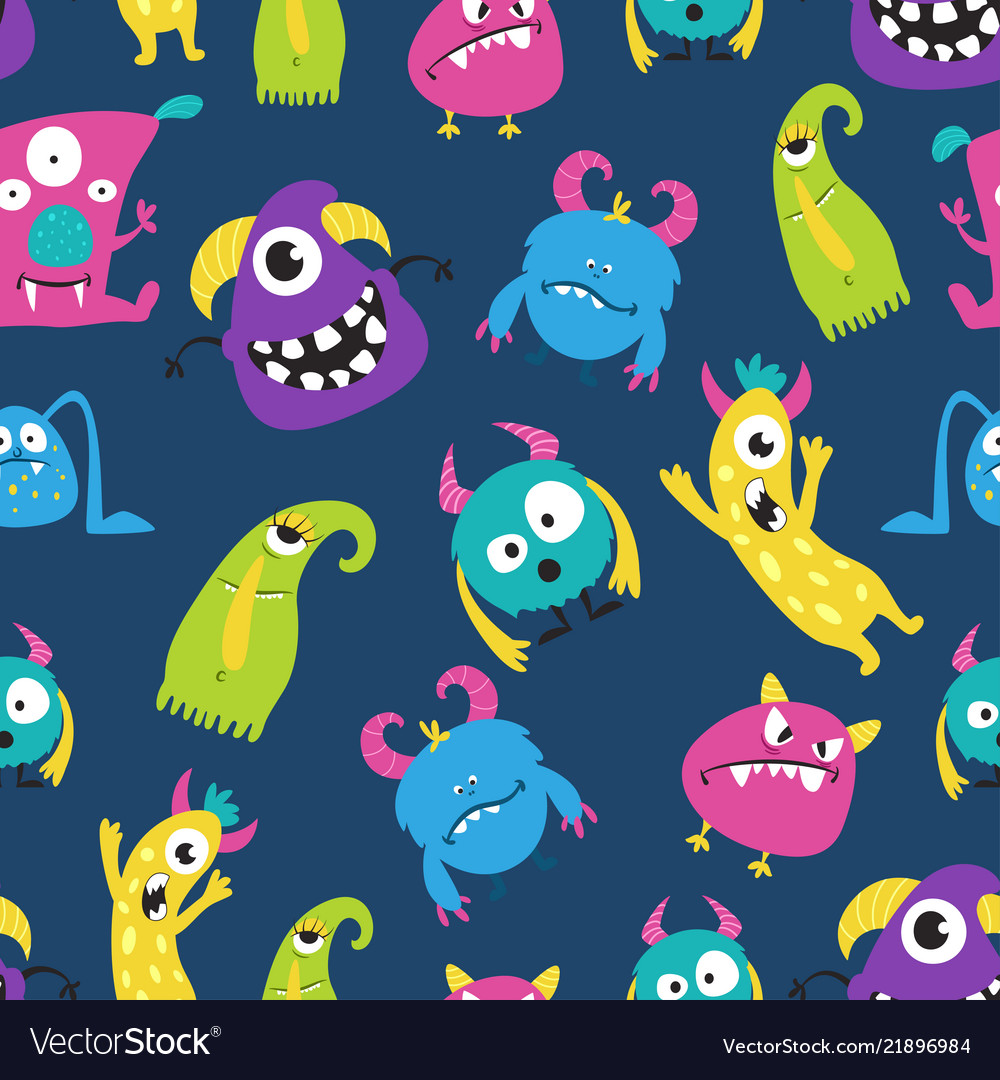 Cute funny monster seamless pattern on blue