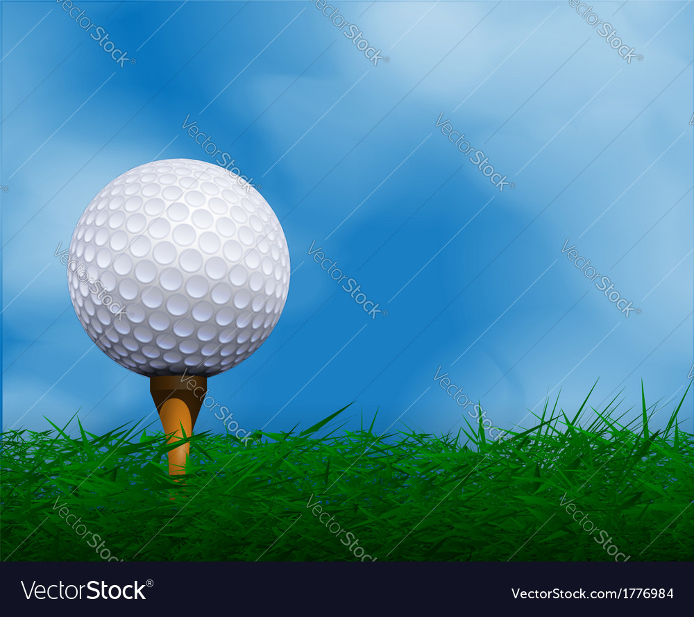Golf ball in front sky golf background