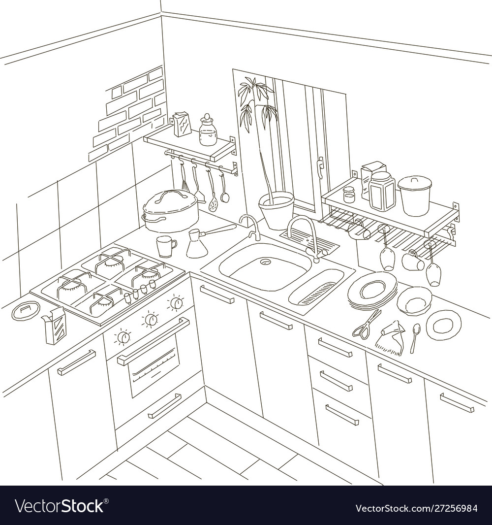 Kitchen anime background style line drawing art