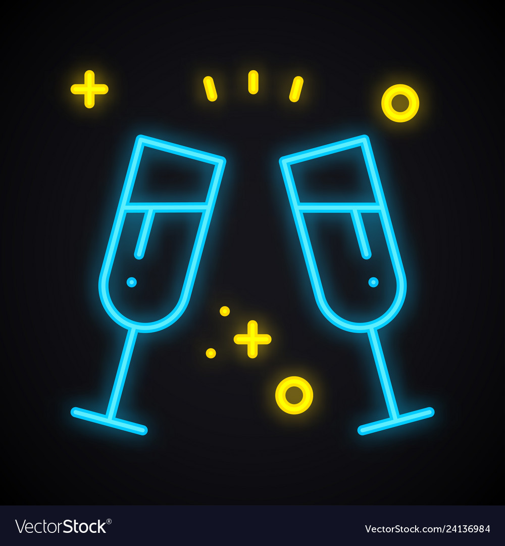 Neon drink in two glasses bright toast sign