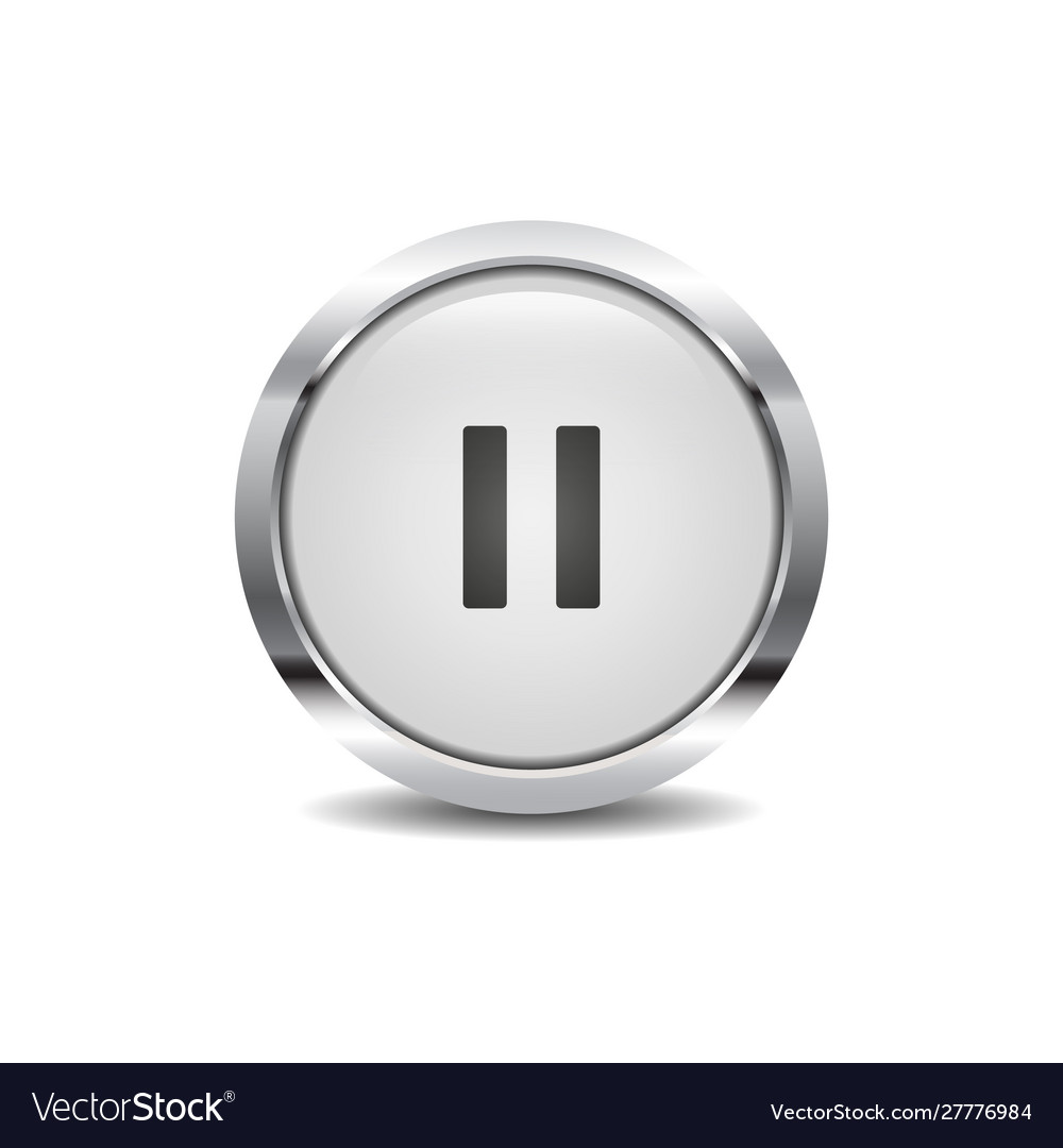 Pause icon image round 3d button with metal frame