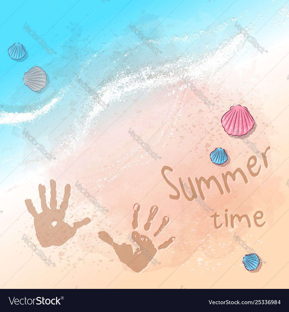 Postcard print beach summer party with footprints