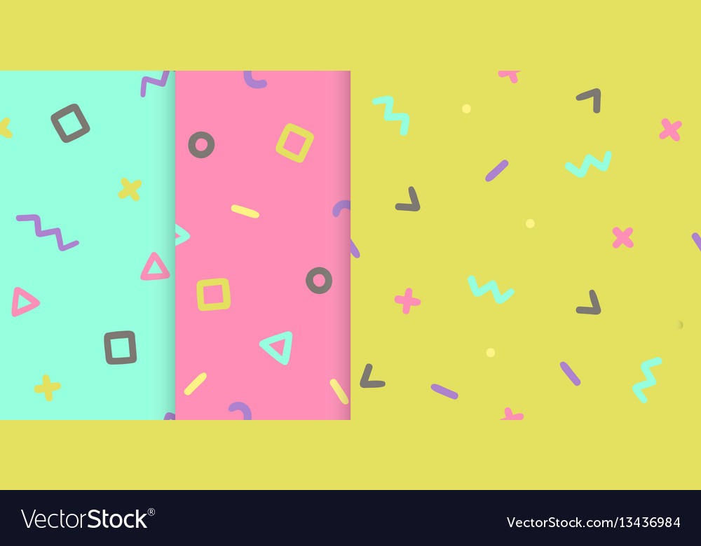 Set of three backgrounds with symbols
